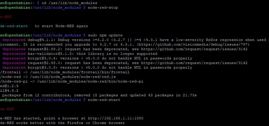 NodeRed updating openhabian